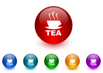 tea colorful vector icons set