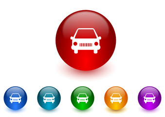 car colorful vector icons set