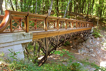 Bridge in Mezhyhirya - former residence of Yanukovich, Ukraine