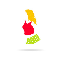 girl illustration in red shorts vector
