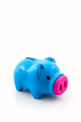Blue piggy bank saving.