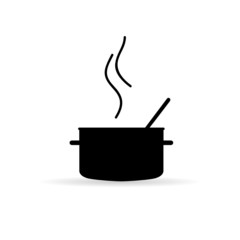 cooking pot icon silhouette