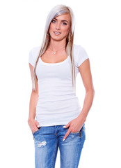 Young woman in white t-shirt