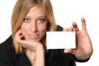 Frau mit Visitenkarte