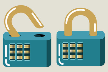 Vector Icons of Closed and Opened Locks