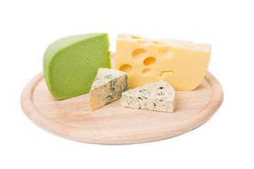 Different cheeses isolated