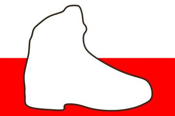 Südtiroler Landesfarben mit Wanderschuh