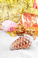 Christmas fir cones decorations
