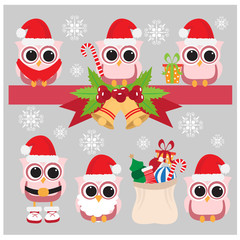 merry Christmas owl icons