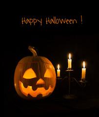 Pumpkin with candelabrum, vertical card