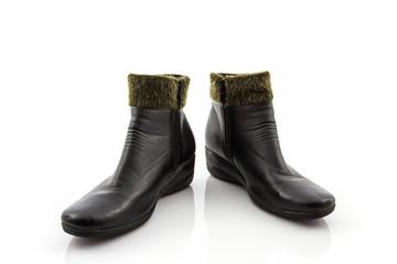 Black Fluffy woolly warm boots.