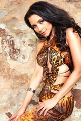Beautiful sexy brunette woman dress wild animal print sexy hot