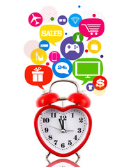 Heart alarm clock with sale icons in talk bubbles isolated