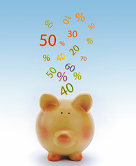 Piggy bank with sale icons