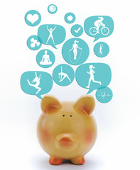 Piggy bank with fitness icons in talk bubbles isolated