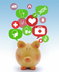 Piggy bank with medical icons in talk bubbles