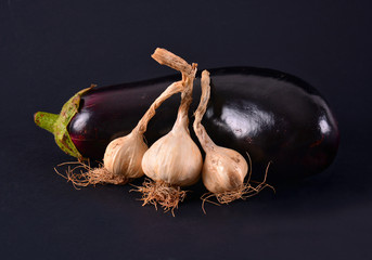 Eggplant and garlic on black background