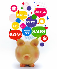 Piggy bank with sale icons in talk bubbles isolated