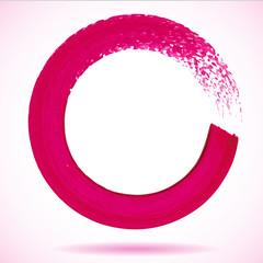 Magenta paintbrush circle vector frame