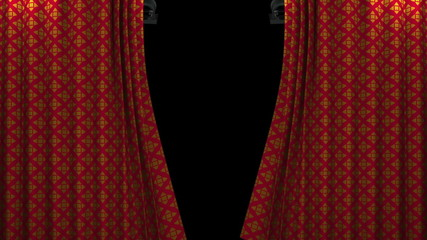 red and gold pattern curtain with spotlight opening scene