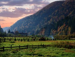 Autumn landscape in Carpathian mountains in Ukraine at sunset