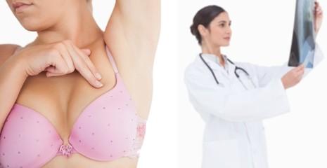 Woman performing self breast examination