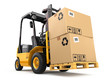 Forklift truck with boxes on pallet. Cargo. - 71638490