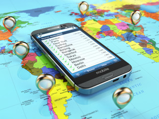 Travel destination and tourism concept. Smartphone on world map