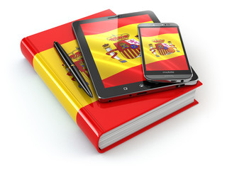 Spanish learning. Mobile devices, smartphone, tablet pc and book