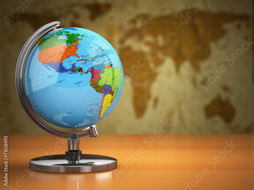 Globe  with a political map on vintage background. - 71638493