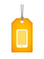 label icon with a smartphone