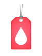label icon with a blood drop
