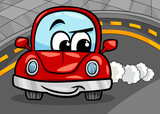 funny retro car cartoon illustration