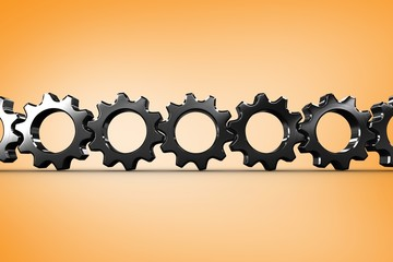 Composite image of metal cogs and wheels connecting