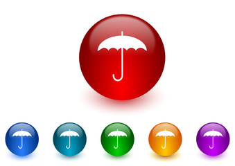 umbrella colorful vector icons set