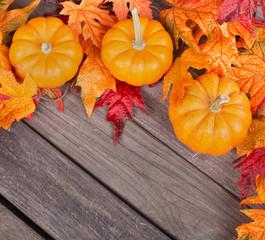 Autumn Pumpkin and Leaf Border