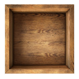 old wood box top view isolated