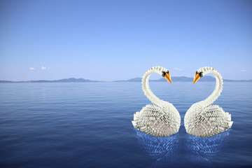 White swans origami in love on the sea making a heart