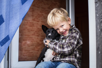 Love between child and his pet
