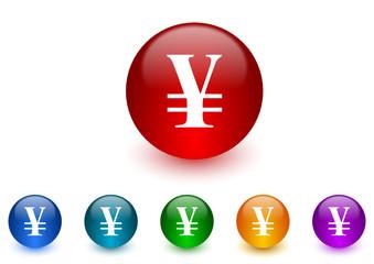 yen colorful vector icons set