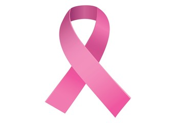 Pink breast cancer awareness ribbon