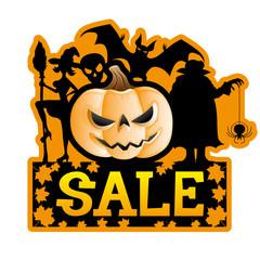 Vector sign. Halloween sale.