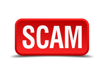 Scam red 3d square button isolated on white