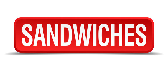 sandwiches red 3d square button isolated on white