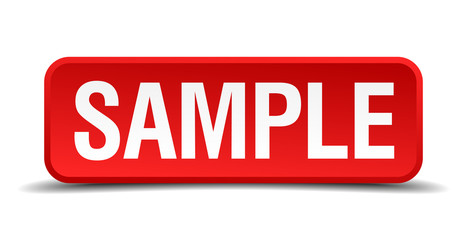 Sample red 3d square button isolated on white