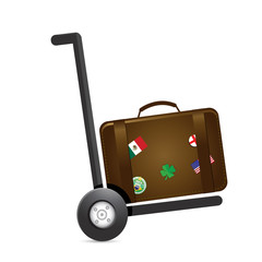luggage and handtruck dolly illustration