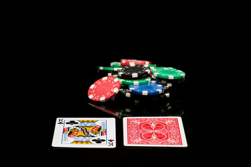 Poker cards with chips