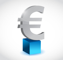 euro currency symbol over a cube