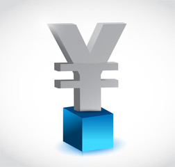 yen currency symbol over a cube