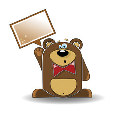 Cartoon illustration of a bear with a white sign.